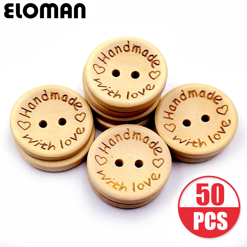 ELOMAN 50PCS/lot Natural Color handmade love wood button