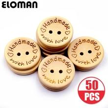 ELOMAN 50PCS/lot Natural Color Wooden Buttons handmade love Letter wood button craft DIY b