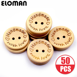ELOMAN 50PCS/lot Natural Color Wooden Buttons handmade love Letter wood button craft DIY baby apparel accessories