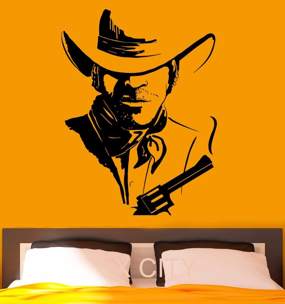 Cowboy Wall Stickers American Wild West Poster Decal Vinyl Cool Dorm Teen Design Home Interior Nursery Art Murals Bedroom Decor