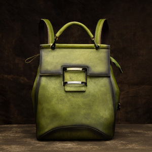 Image 4 - Johnature 2020 New Retro Genuine Leather Bag Solid Color Backpack Handmade Cowhide Large Capacity Women Backpacks Travel Bags