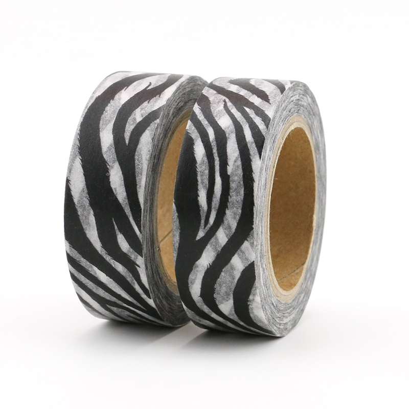 2PCS/lot Black And White Zebra Animal Decor Washi Tapes Paper DIY Scrapbooking Adhesive Masking Tapes 10m School Office Supply