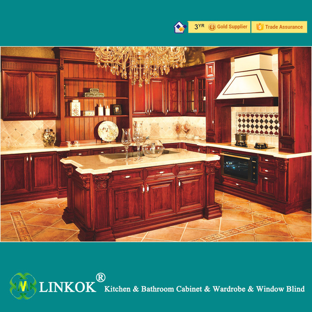 Linkok Furniture American standard modern solid wood kitchen cabinet with  baroque cabinet