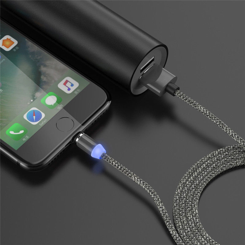 1m 2m LED Magnetic Cable For Micro USB/Type C/IOS Phone Charger Cable For iPhone 7 6 2.4A Fast Charge Round Magnet Charger Cabos