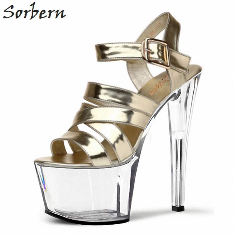 Sorbern Light Gold Clear Heels Women Sandals Shoes Runway Perspex 15Cm/17Cm Sandels For Summer