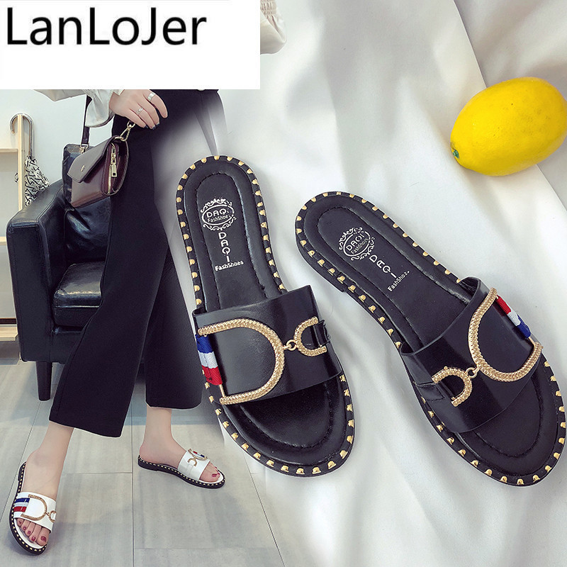 LanLoJer  Zapatillas mujer sandales femme 2018 nouveau Brand Designer Summer Women Slippers ladies Slides Female flats slippers