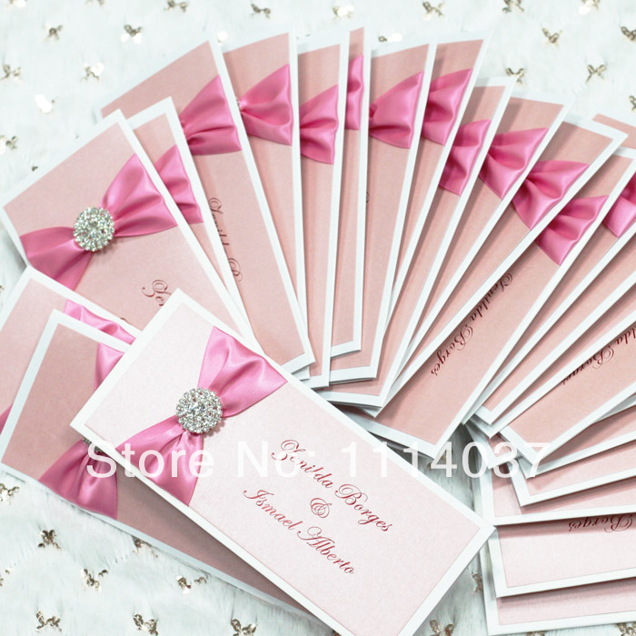 handmade ribbon and buckle latest wedding card designs
