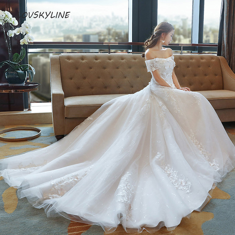 Miaoduo Vestido De Noiva High Neck IIIusion Back Long Sleeve Wedding Dress 2019 Lace Ball Gown