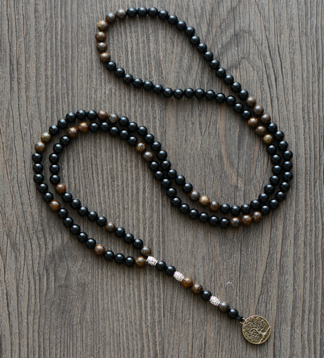 Men Necklace Quality 6MM Black Agate Wood Beads with Tree Pendant Mens Rosary Necklace Beads Mens jewelry bracelet