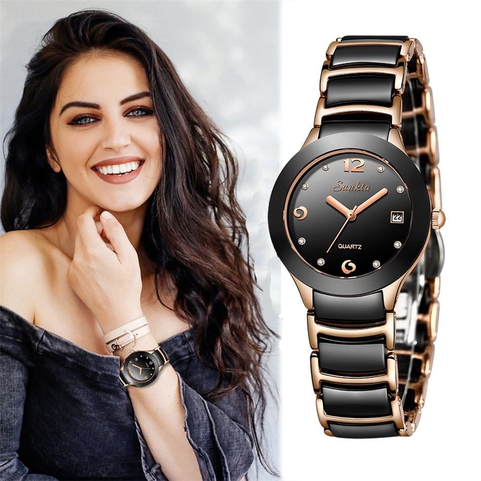 SUNKTA Mulheres Relógios Top Marca de Luxo