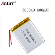 Free shipping Polymer battery 600 mah 3.7 V 503040 smart home MP3 speakers Li-ion battery for dvr GPS mp3 mp4 cell phone speaker best battery brand mp3 mp4 free shipping 3 7v lithium battery 501417 501414 70mah mp3 mp4 bluetooth headset battery toys battery