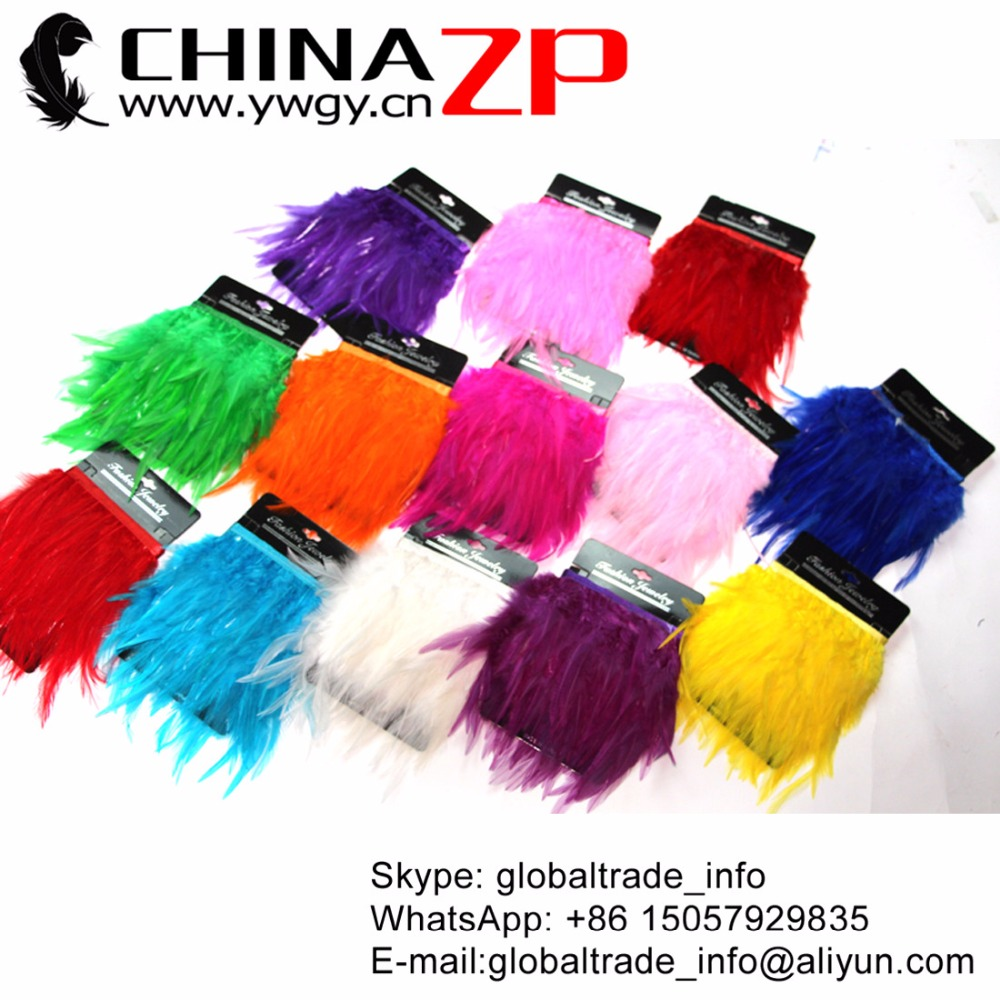 CHINAZP Factory Wholesale 50yards/lot Unique Dyed Mix Colors Rooster Saddle Feathera Trim