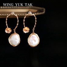 wing yuk tak Bohemia Metal Embossed Flower Earrings for Women Luxury Handwork Baroque Freshwater Pearls femme 2019