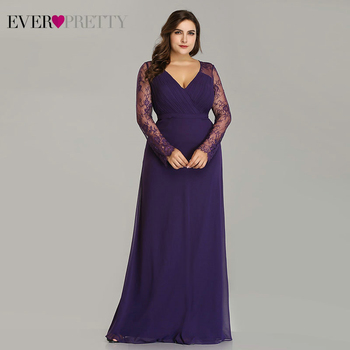 Formal Evening Dresses Ever Pretty EP08692 Women's Autumn Elegant V-neck Long Sleeve Lace Plus Size Prom Evening Party Gowns 2