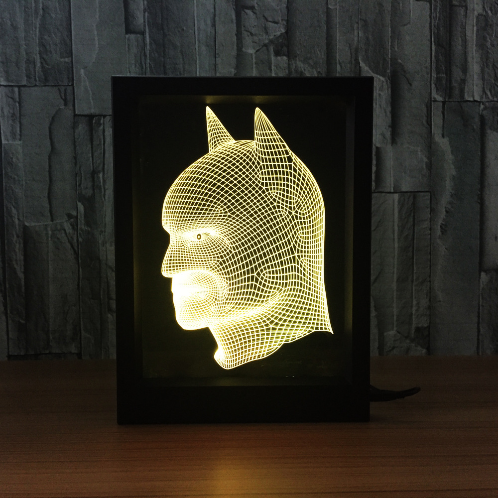 Batman Photo Frame RGB Color Changing 3D Table Lamp DIY LED Night Light  Acrylic Bat Man for Christmas Kids Gift-in LED Night Lights from Lights &