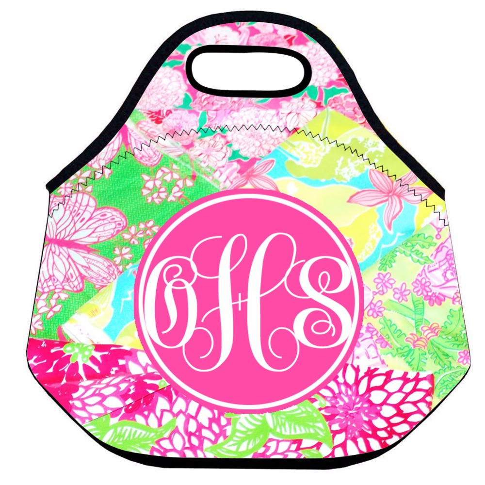 Personalized Flower Lunch Bag for Women,Pink Insulated Thermal Lunch Bag,Kids Neoprene Lunch Bag Food Bag,Picnic Lunch Tote