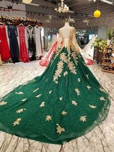 Image 3 - Vestido de baile manga longa tule flores miçangas verde luxo vestidos de noite 100% vestido de noite real 2020 festa kc71
