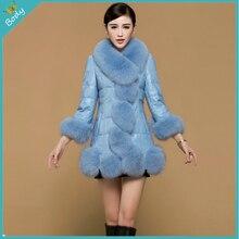 2015 Luxury Winter Women's Fashion Fox Faux Fur Coat Outwear Lady Garment Elegant Women Long PU Patchwork Jacket Plus Size