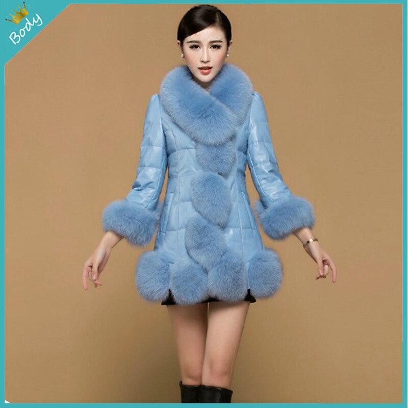 2015 Luxury Winter font b Women s b font Fashion Fox Faux Fur Coat Outwear Lady