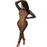 Luxury Rhinestone Sparkly Jumpsuit Women Turtleneck Long Sleeve Mesh Romper Sexy Sheer Birthday Nightclub Bodycon Party Overalls
