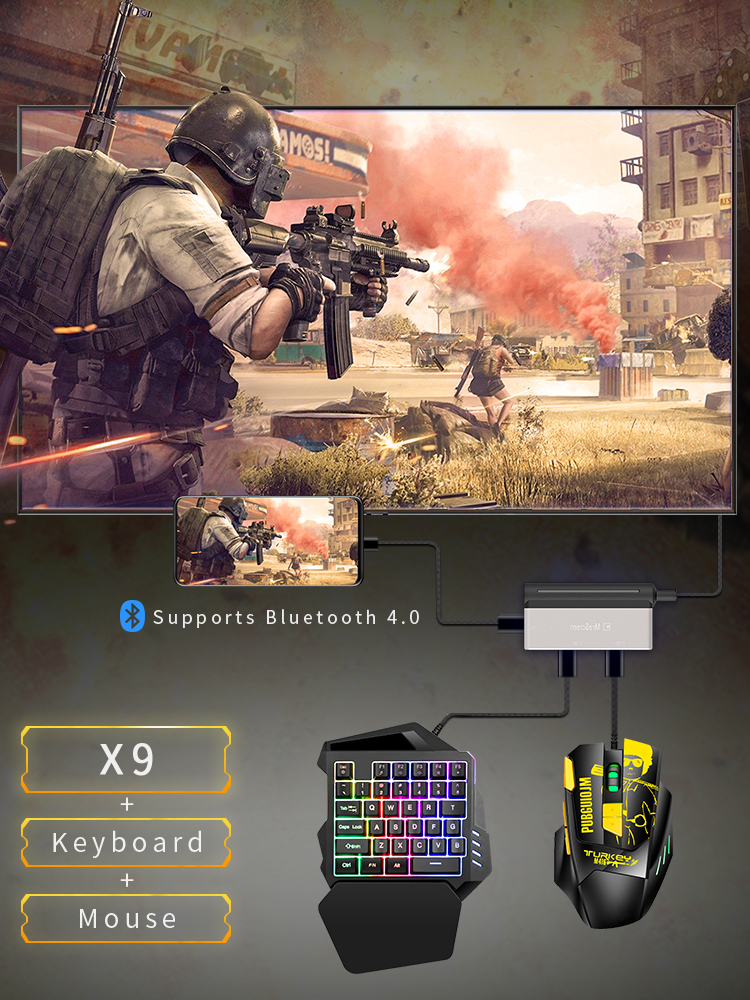 4k 60Hz PUBG Gamepad Controller Gaming Keyboard Mouse HDMI Converter Bluetooth Adapter Plug And Play Phone To TV PC Same Screen