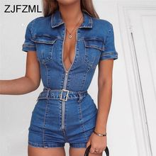 V-Neck Front Zipper Sexy Denim Playsuit 2019 Summer Short Sleeve Belt Bodycon Rompers Womens Jumpsuit Causal Pockets Bodysuit