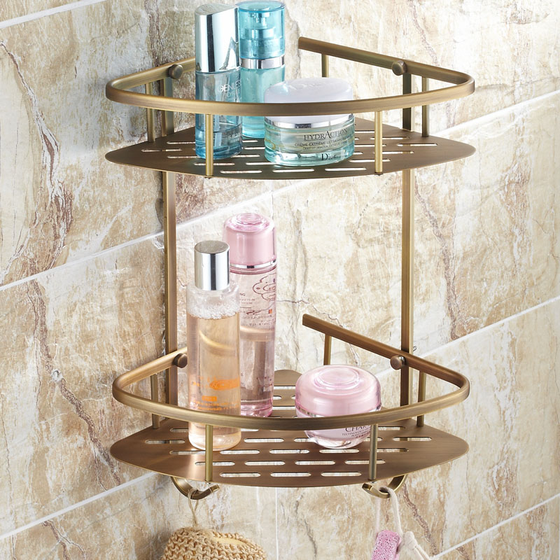 Antique Classical Towel Rack All Copper European Toilet Shelf Double Triangle Basket Brush Surface Wall Mount Bathroom Product