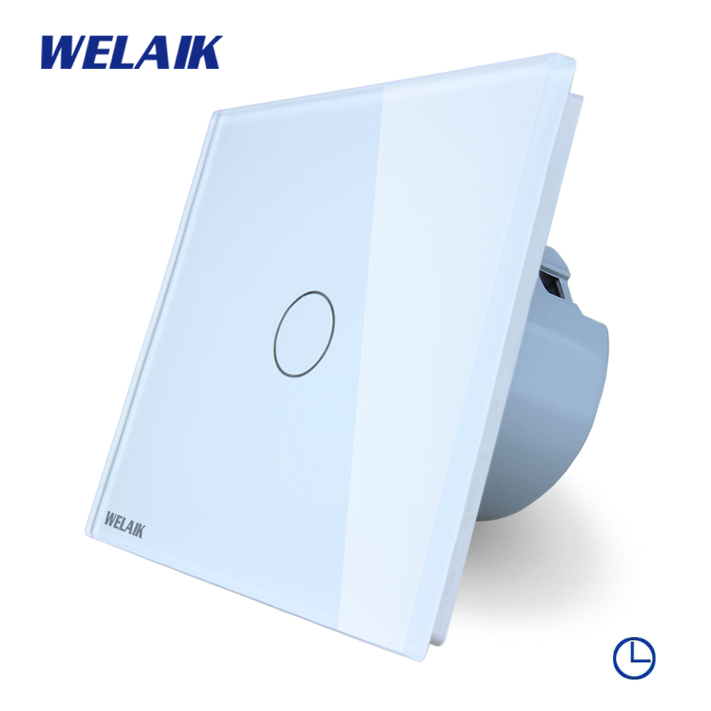 WELAIK Crystal Glass Panel Switch White Wall Switch EU Time Touch Switch Screen Light Switch 1gang1way AC110~250V A1911DSCW/B smart home us au wall touch switch white crystal glass panel 1 gang 1 way power light wall touch switch used for led waterproof