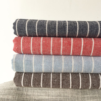 100x140cm Japan Style Cotton Linen Fabric Yarn Dyed Stripe Sewing Material DIY Fabric For Table Cloth