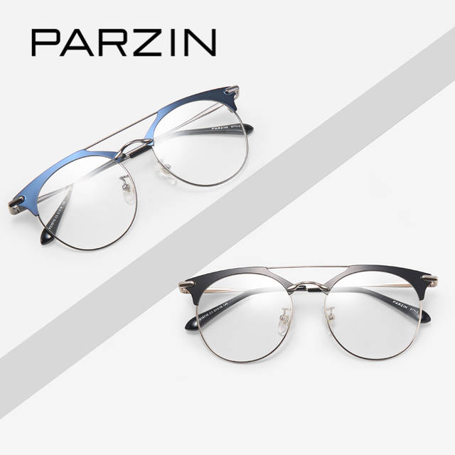 b2dd675d68 placeholder PARZIN Semi Rimless Round Glasses Frames With Clear Lens Top  Grade Prescription Eyeglass Frames With Anti