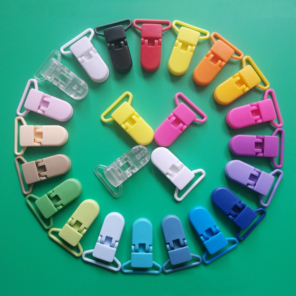 Sutoyuen 100pcs 25mm 1'' KAM Plastic Garment Binder Suspender Clips Baby Pacifier MAM Dummy Soother Chain Holder Clips 20 Colors