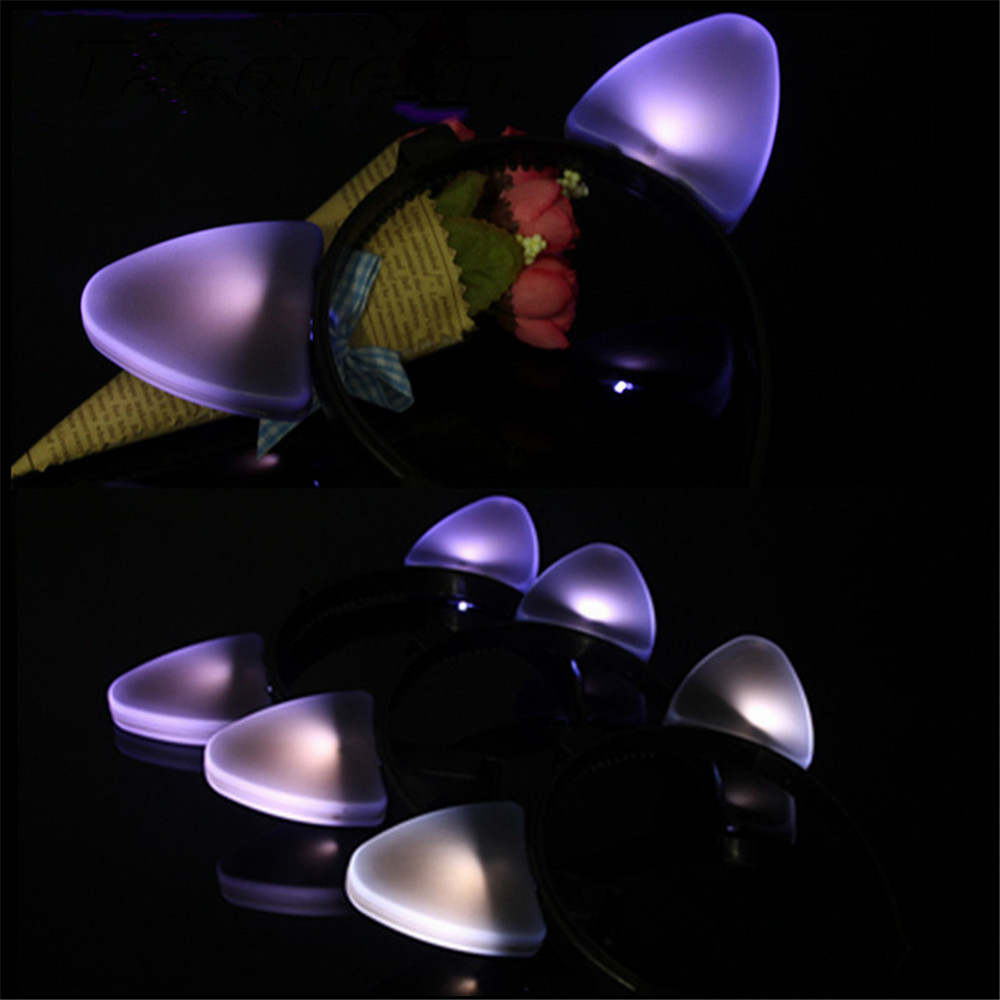 Taoqueen New Luminous Cat Ear Hoop Party Lighting Hat Cat Girl Dressing Head Ornament Head Brand Toys
