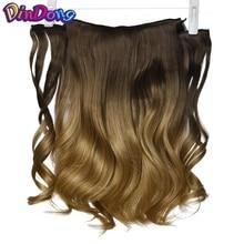 DinDong 18-дюймовая линия рыбы Волнистые наращивания волос Секретные невидимые парики Браун Блондин Длинные синтетические волосы Жаропрочные волокна