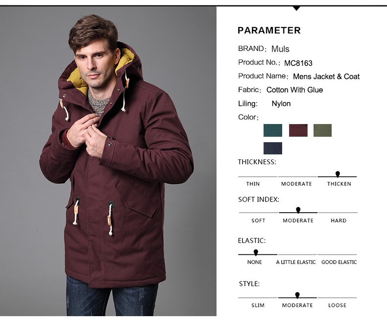 Warm winter thick jacket men cold degree padded cotton hooded jacket coat for man coat Male 2016 New European size M-3XL MC8163