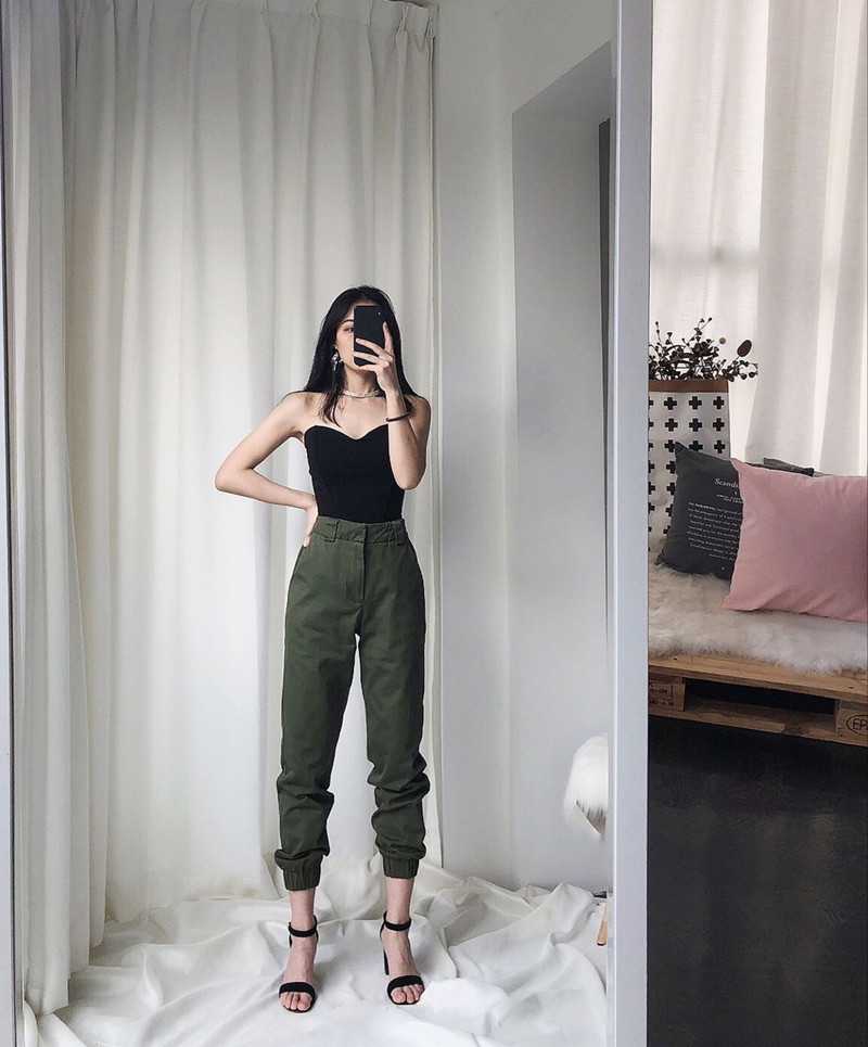 High waist loose joggers army pants street wear black cargo pants trousers 15