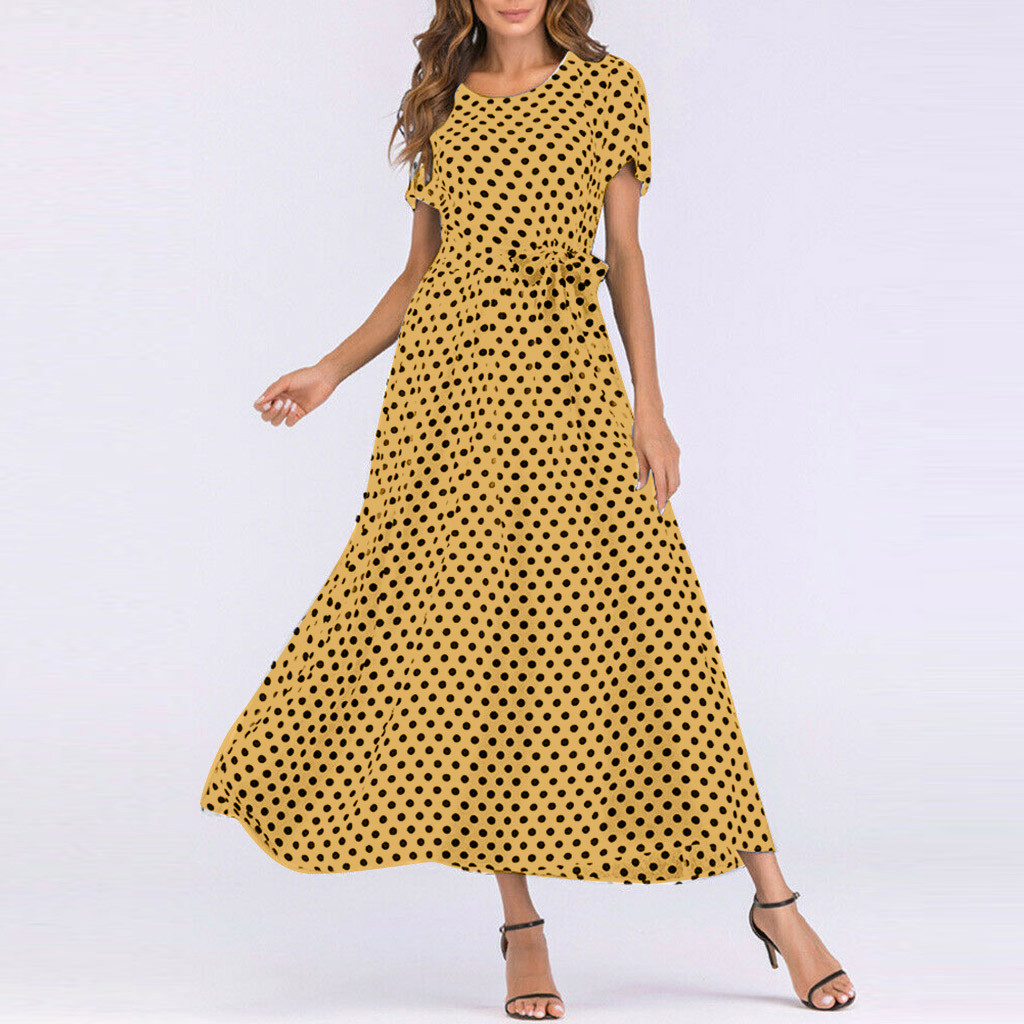 HTB1Ela0aBCw3KVjSZFuq6AAOpXaZ - Summer Dress Women O-Neck Short Sleeve Boho Polka Dot Bandage Maxi Long Dress Women Beach Sundress Plus Size Vestidos
