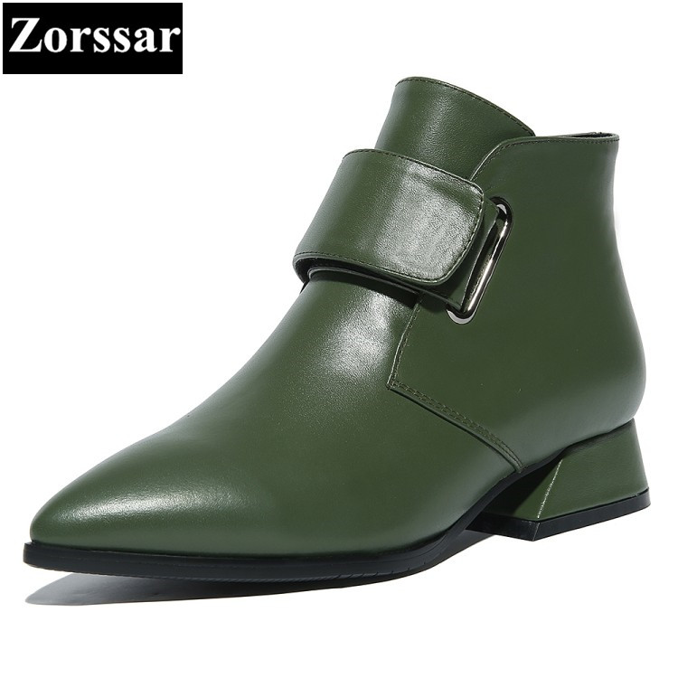 {Zorssar} 2018 NEW Fashion buckle Women Short Boots Low heel ankle pointed Toe Martin boots large size womens shoes winter boots odetina new fashion women metal buckle ankle boots pointed toe gothic punk style motorcycle boots winter shoes black big size 48