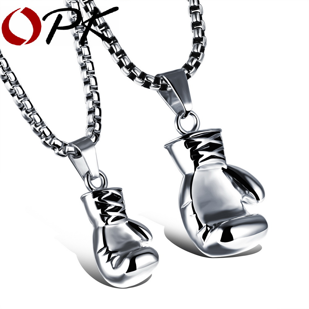 OPK noir/acier/or couleur mode Mini gant de boxe collier bijoux de boxe en acier inoxydable Cool pendentif pour hommes garçons cadeau