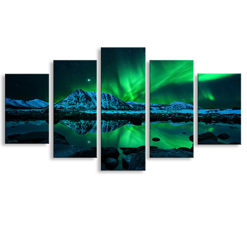 5 Pieces High Definition Print Northern Lights Canvas Oil