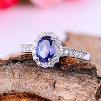 KJJEAXCMY Fine Jewelry 925 Silver Inlay Tanzania Color Topaz Topaz Sterling Silver Ring Ring Female Models