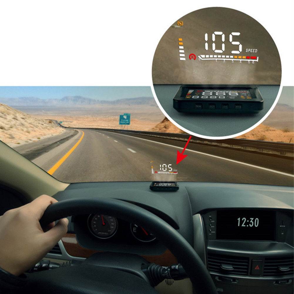 4 large screen car hud head up display car hud with obd2 interface plug with