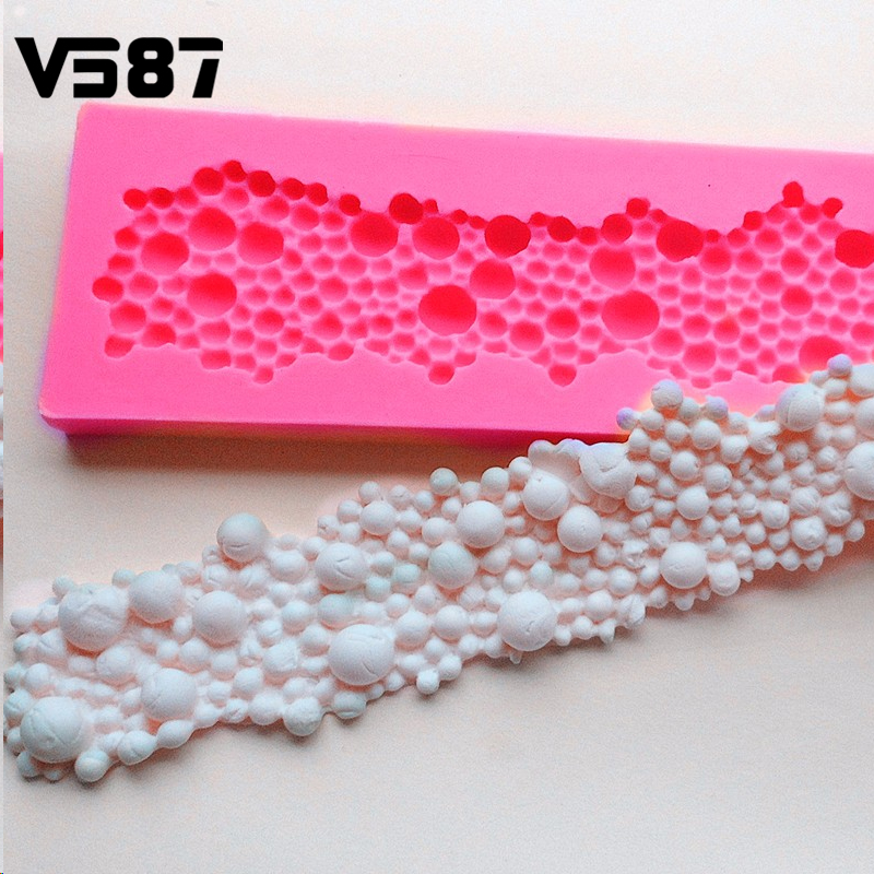 Molde de Pastel de silicona 3D Round Beads Burbujas Fondant Sugarcraft Decoració