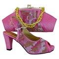 O envio gratuito de Moda Africano Sapatos italianos e Matching Bags definido, Itália Sapatos e Bolsas com flor cor de ROSA, 38-42! HVB1-31