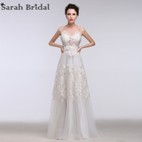 2016 New Sexy See Through Lace Beach Wedding Dresses With Sash Floor Length Real Picture Custom