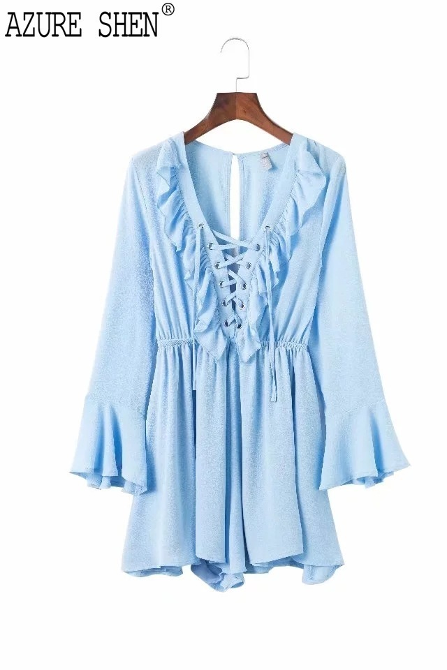 [AZURE SHEN] New Summer 2018 fashion tide blue V-neck lace-up flare sleeves short pattern rufflesloose jumpsuit women QC612