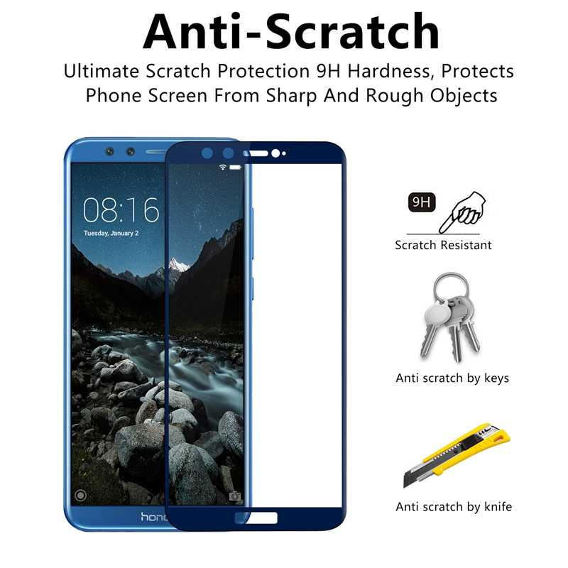 Di Honor 9 Lite Tempered Glass untuk Huawei Honor 9 Lite Screen Protector Pelindung Kaca 9 Lampu 9 Lite Honor 9 Lite cover Film 3D