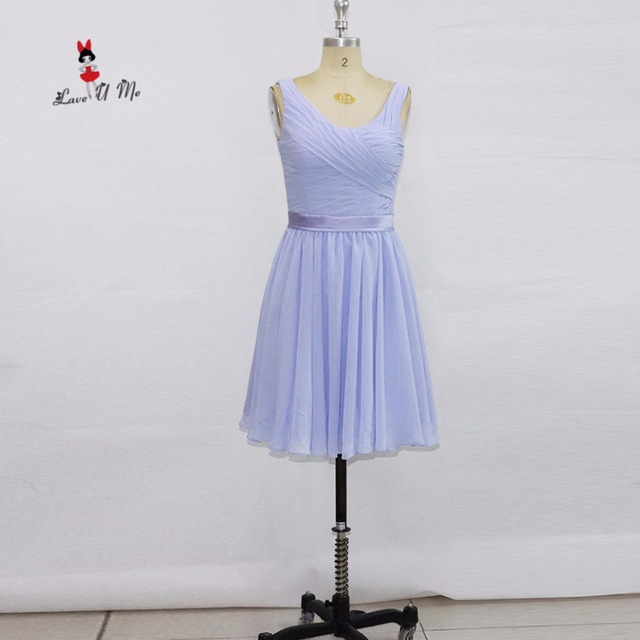 Vintage Lavender Bridesmaid Dresses Short Cheap China Wedding Party Dress  Knee Length Chiffon Prom Homecoming Dress 2017 Courte 05d460c60f44