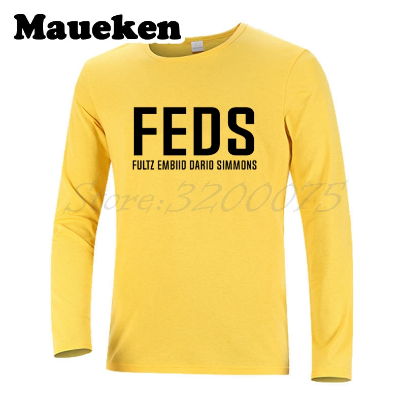 newest db27a e3873 Long Sleeve FEDS Markelle Fultz Joel Embiid Dario Saric Ben Simmons  Philadelphia Men T Shirt T Shirt Autumn Winter W17100906-in T-Shirts from  Men's ...