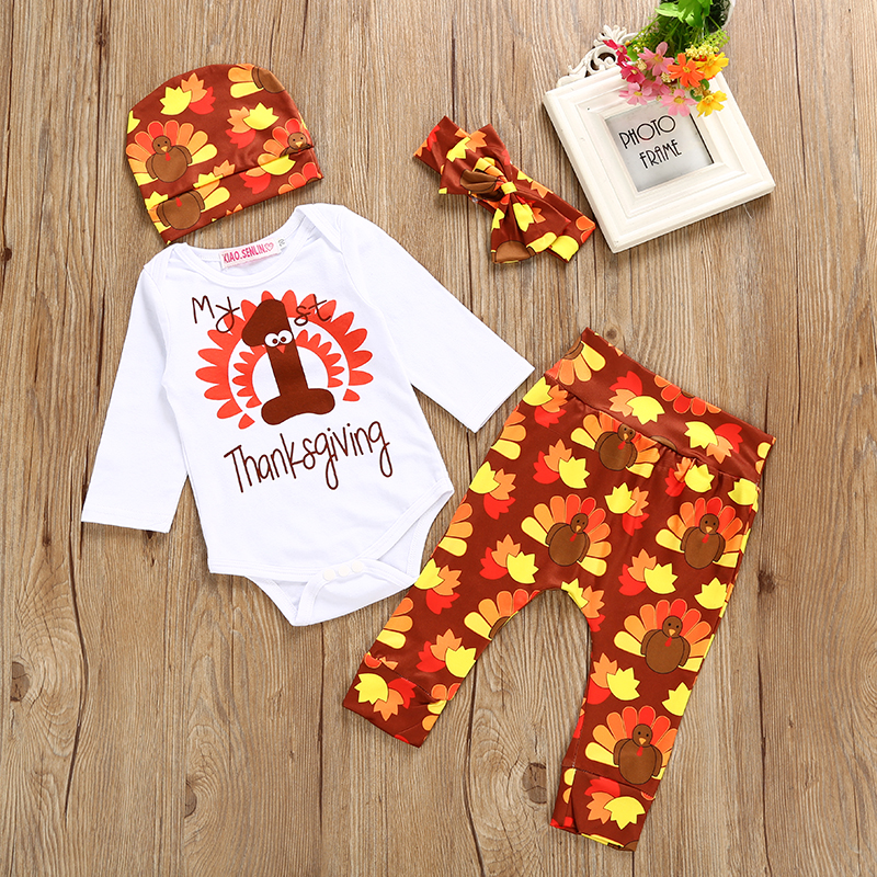 Halloween Newborn Baby Boy Clothes Baby Girl Black Bodysuit+Pants+Hat+Headband Toddler Outfits Infant 4Pcs Clothing Set