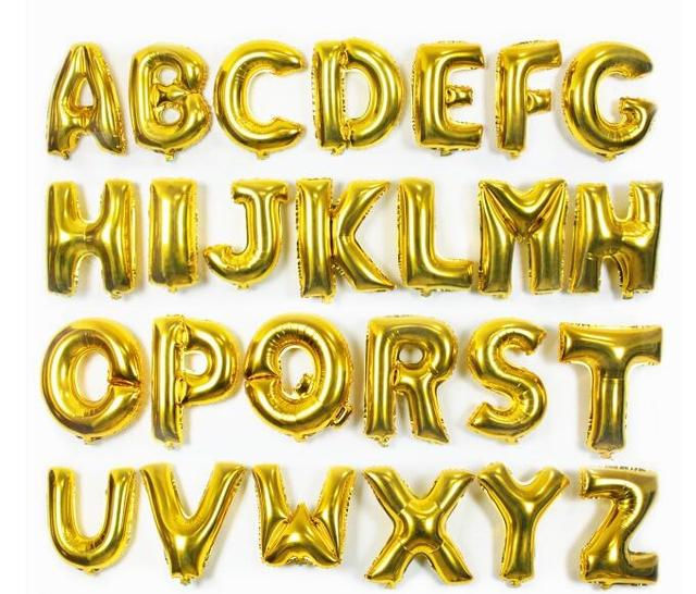 16inch 40cm Golden Capital Letter A To Z Option Foil Mylar Helium Balloons For Birthday Wedding